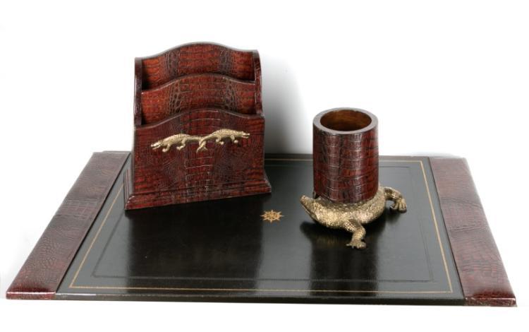 Outstanding Maitland Smith Leather Alligator Motif Desk Set Andrewgaddart Wooden Chair Designs For Living Room Andrewgaddartcom