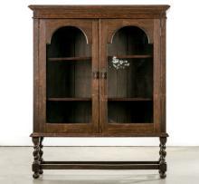 English Oak Barley Twist Two Door Display Cabinet