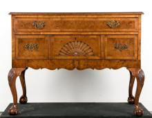 19th C Chippendale Style Burled Wood Low Boy Chest