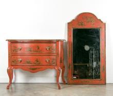 LaBarge Italian Chinoiserie Commode & Mirror