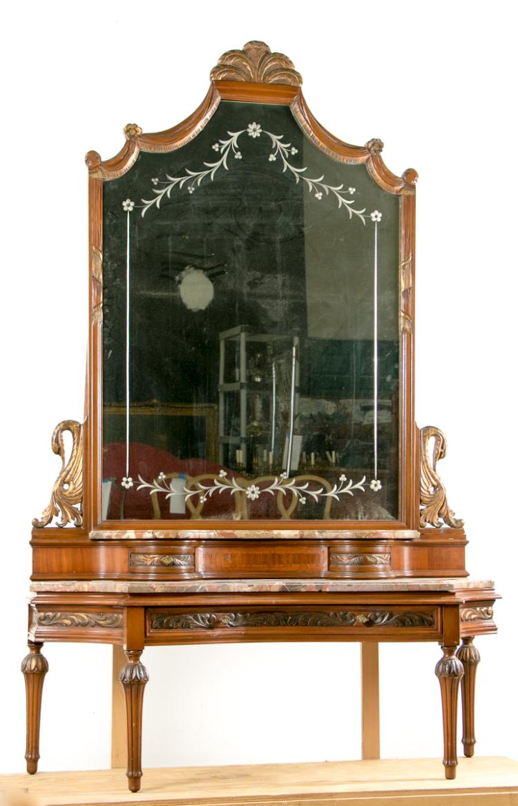 *Continental Style Side Table & Mirrored Vanity