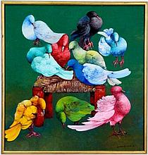 Gesner Armand Oil on Canvas--Pigeons