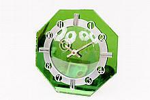 English Art Deco Green Mirrored Table Clock