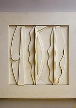Large Nevelson Style White Abstract Wall Sculpture