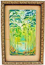 1960s Forest Landscape Oil, Signed Lancaster