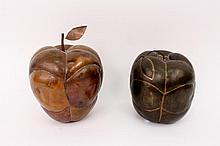 Two Metal Fruit Decorative Sculptures of Apples