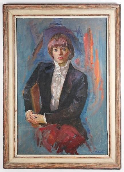 C. Chatov Signed Oil, Woman in White Blouse