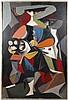 Roman Chatov '68 Oil, Cubist Figure with Flowers, Roman Chatov, Click for value