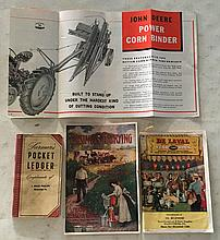 4 Items = Farmers Pocket Ledger by John Deere 1951 86th Annual Edition compliments of J. Bruce Phillips Meyersdale, Pa. 3 ½ x 6 ½; 72 Pages. Very good condition.John Deere Power Corn Binder P.B. Booklet 12 Pages. Tri-fold brochure 1942, see center