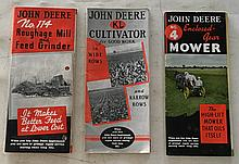 3 Booklets Tri-fold = John Deere No. 4 Enclosed Gear Mower P.B. Booklet 24 Pages = see color picture in center spread of this Tri-fold brochure. John Deere KL Cultivator for Good Work in Wide Rows 1937 P.B. booklet; 16 Pages. John Deer No. 114