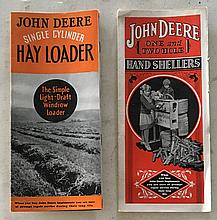 2 Booklets Tri-fold = John Deere Single Cylinder Hayloader 1938  P.B. Booklet 8 Pages = Center spread showing the hay loader. Very nice. John Deere One and Two Hole Hand Shellers 1929 P.B. Booklet 4 Pages. Very nice (rare)