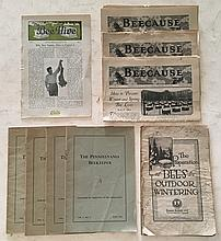Beecause (3 issues). The Preparations of Bees for Outdoor Wintering 1916 P.B. booklet; 23 Pages; 5 ¾ x 9. (5 Books) The Pennsylvania Bee Keeper P.B. booklet 5 ¾ x 8 ¾; October 1932, July 1933, January 1934, July 1934, October 1934.