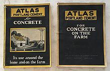(2) Atlas Portland and Cement for Concrete P.B.; 96 Pages; 1928 and 1922; 7 ¾ x 10 ½ = All about making concrete items. Page 80 has instructions for Septic tanks. Concrete Water tank, Page 61.