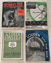 4 Catalogs = Louden Barn Plan Book P.B. 8 ½ x 11 33 Pages. Alpha Cement P.B. 7 ¾ x 10; 40 Pages. Standard Equipment Incorporated P.B.; 1925-1926; 47 Pages. The New Homelite One Man Chain Saw P.B. 8 ½ x 11; 4 Pages.