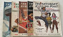 The Saturday Evening Post 5 issues 1939, 1940, 1941.