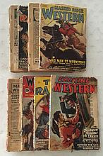 (8 Western Magazines) P.B. 6 ¾ x 9 ¾ Exciting Western 1948; Western Novel and Short Stories; (2) Texas Rangers 1948; Masked Rider Western 1948; Star Western 1938, no cover; Complete Western Book Magazine 1939, no cover; Range Riders Western 1948 no