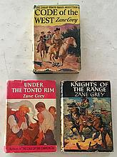 3 Zone Grey Books HC with DJ 5 ¼ x 7 ½ Code of The West 1934, Under The Tonto Rim 1926, Knights of The Range 1936 (Dust Jackets in good condition)