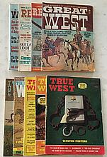9 Western Magazines (3) Real West 1974, 1976, 1962 Great West 1974, (2) The West 1965, 1973; (3) True West 1966, 1973, 1975 = Lots of interesting stories of the early Western States.