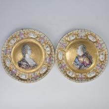 Antique Capodimonte Portrait Plates