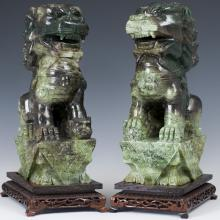 Antique Chinese Carved Spinach Jade Foo Dogs