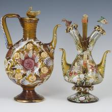 Spanish Enameled Glass Royo & Cire Vessels