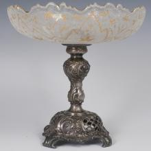 Antique Silver Plated Crystal Compote