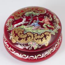 Moser Style Enameled Ruby Glass Dresser Box