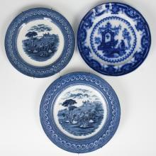 Antique Flow Blue Transferware Porcelain Plates