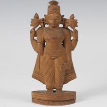 Southeast Asian Carved Wooden Lakshmi Figure