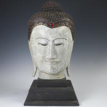 Carved Polychromed Wood Burmese Buddha Bust
