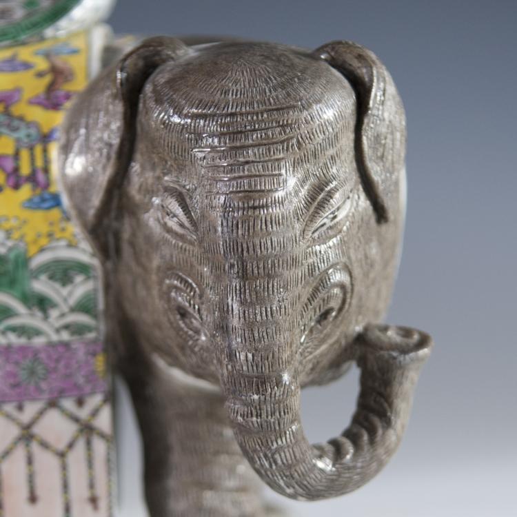 Antique Famille Jaune Porcelain Elephant Figurines