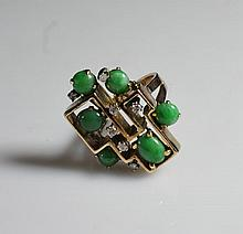 Vintage 14k Gold With Diamonds & Jade Ring