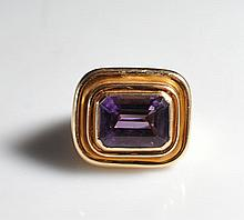 Vintage Large 14k Gold & Amethyst Ring
