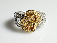 Vintage 18k White & Yellow Gold Ring