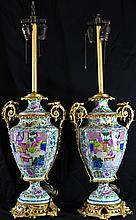 Pair of Chinese porcelain gilded bronze lamps. 19th ct