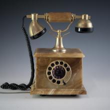Vintage Fatap Italia 24kt Gold Plated Onyx Rotary Phone