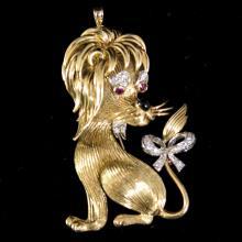 18kt Gold Diamond & Ruby Italian Brooch