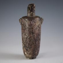 Large Carved & Stamped Chinese Soapstone Snuff Bottle