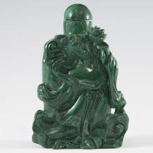 Chinese Carved Malachite Snuff Bottle