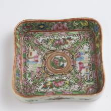 Antique Chinese Rose Medallion Porcelain Pin Tray