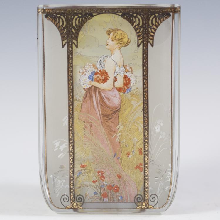 Goebel Glass Vase Alphonse Mucha Edition