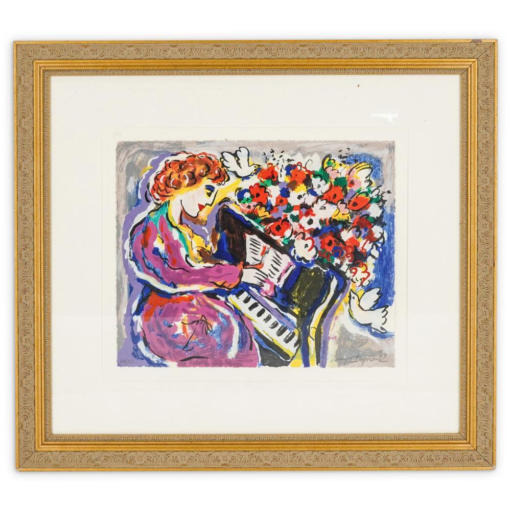 "Zamy Steynovitz (1951-2000) ""Woman Playing Piano HS"" Framed Lithograph"