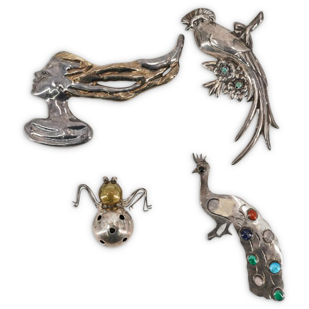 (4 Pc) Vintage Sterling Silver Figural Brooches