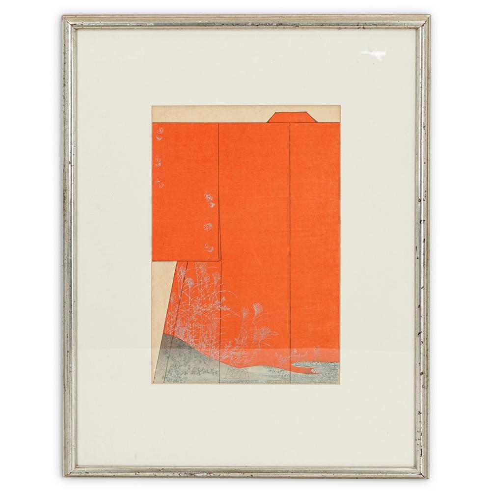 "Kaigai Tennen ""Kimono Design"" Woodcut Print"
