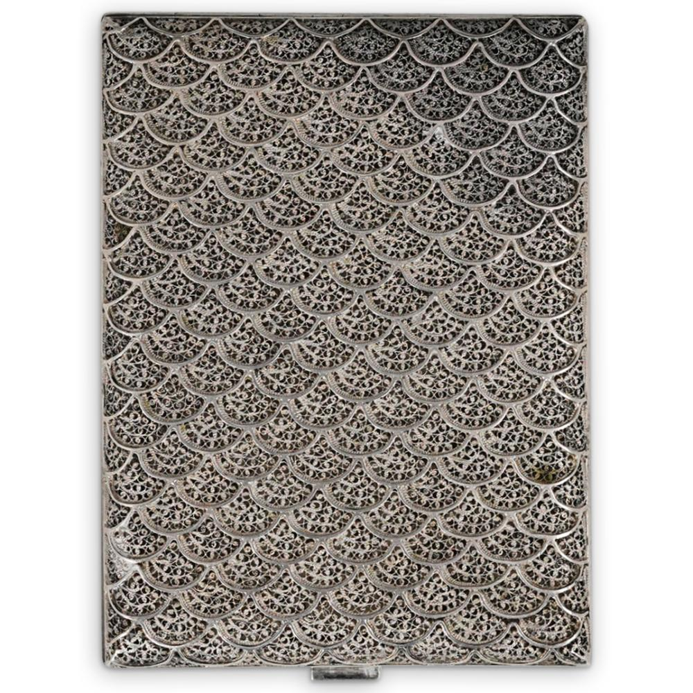 Sterling Silver Cigarette Case w/ Filigree Pattern