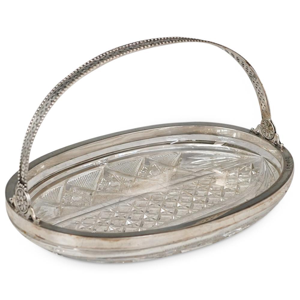 Russian 800 Silver & Crystal Basket Bowl