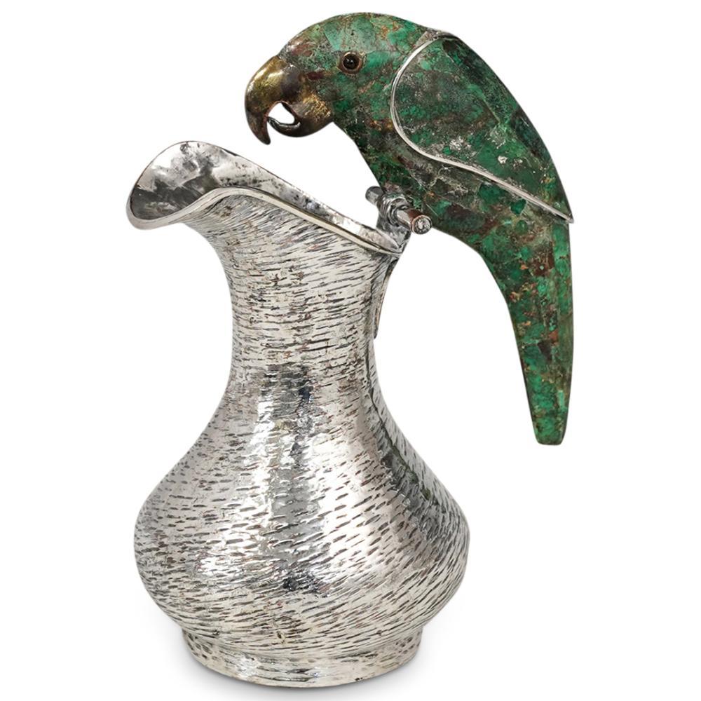 Los Castillo Mexican Silver Plated Malachite Bird Pitcher