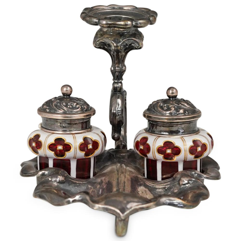 Bohemian Glass and Sterling Silver Inkwell