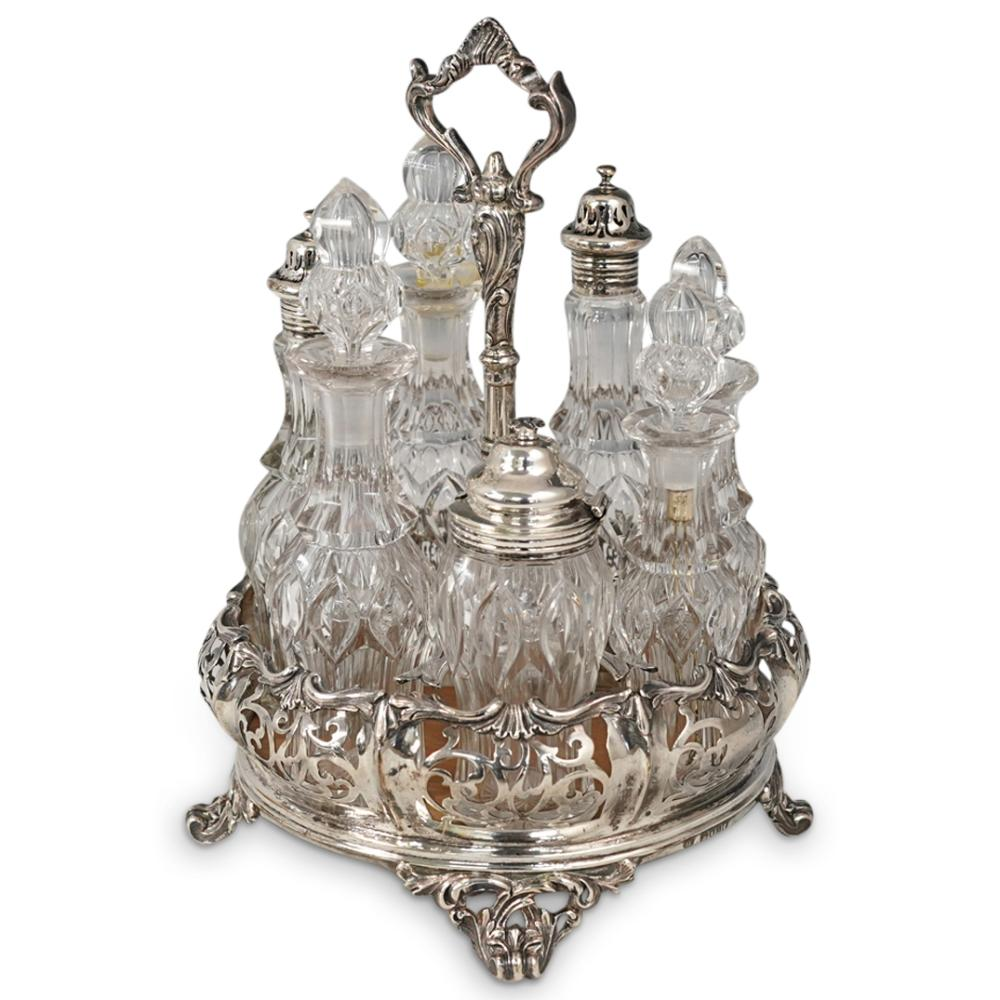 Antique Sterling Silver and Crystal Cruet Set