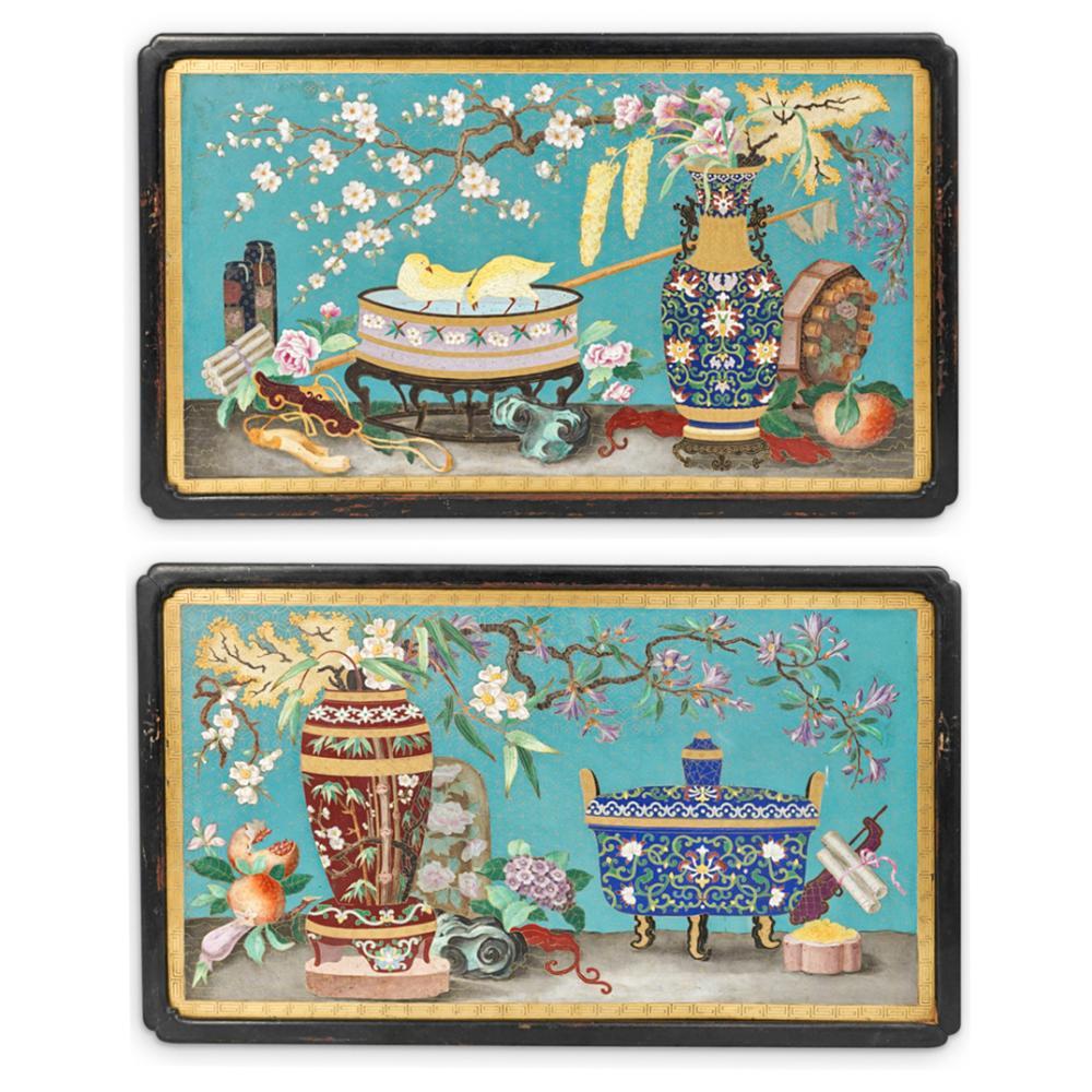 Unusual Pair of Cloisonne Enamel Scholar Plaques